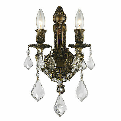 Versailles 2 Light Antique Bronze Finish Crystal Wall Sconce 12