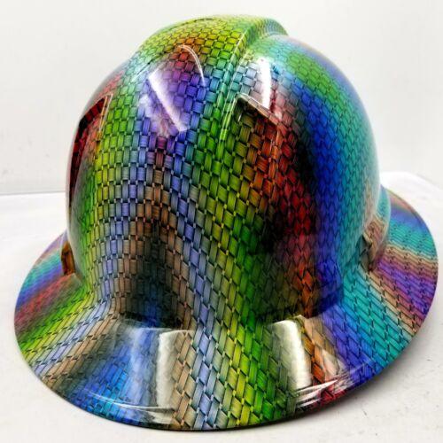 FULL BRIM Hard Hat custom hydro dipped MULTI COLOR BASKET WEAVE CARBON FIBER NEW 3