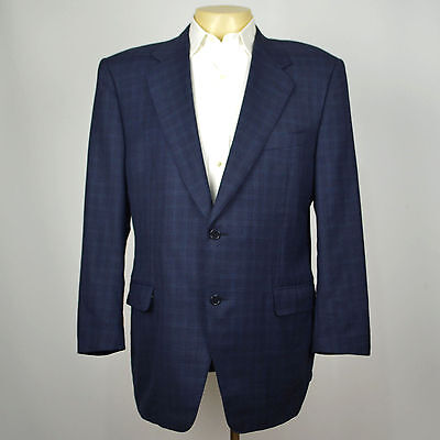 CANALI 100% Wool Navy Plaid Two Button Blazer Sport Coat Sz 44R