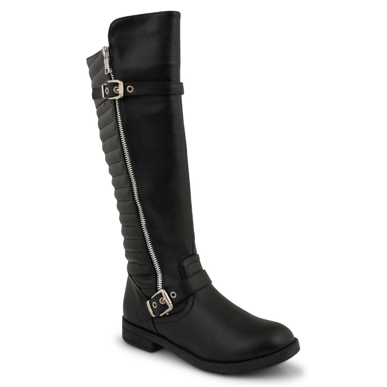 Womens Ladies Low Flat Heel Knee High Boots Black Zipped -4297