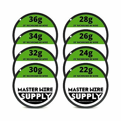 Nichrome 80 Wire Sample Pack 25 Each 2224262830323436 Gauge New
