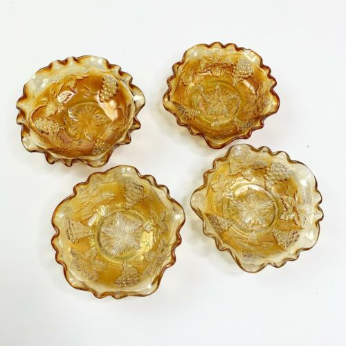 Carnival Glass Amber Harvest Grape Mini Bowl Set