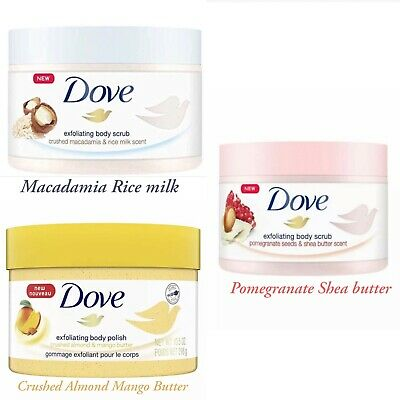 3 X Dove Exfoliating Body Scrub & polish Macadamia . Pomegranate. mango PR£34.90