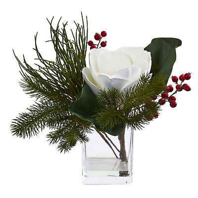 """Artificial 13"""" Magnolia & Holly Berries Arrangement in Faux Water Glass Vase"""