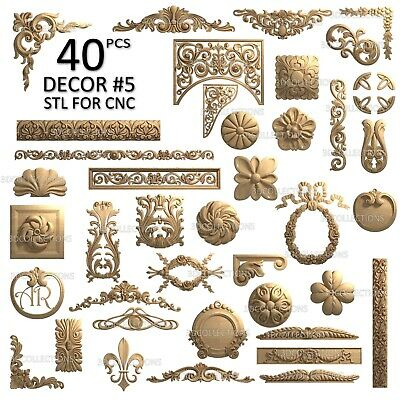 3d Stl Model Cnc Router Artcam Aspire 40 Pcs Decor Collection Pack 5