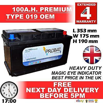 019 017 100ah High Power Calcium Car Van Battery - More Power than AGM / EFB £££