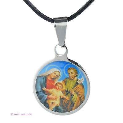 Kette mit Heiligen Collier Anhänger - Heilige Familie Hl. Josef, Maria, Jesus