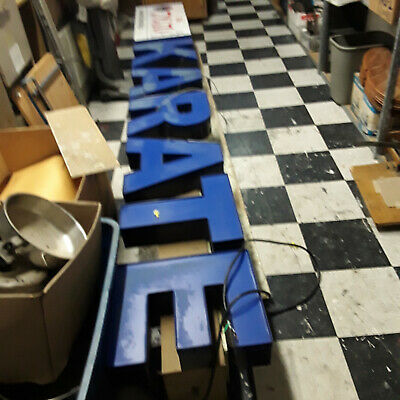 Blue Karate Sign Lights Up Business Commercial 12 X 20