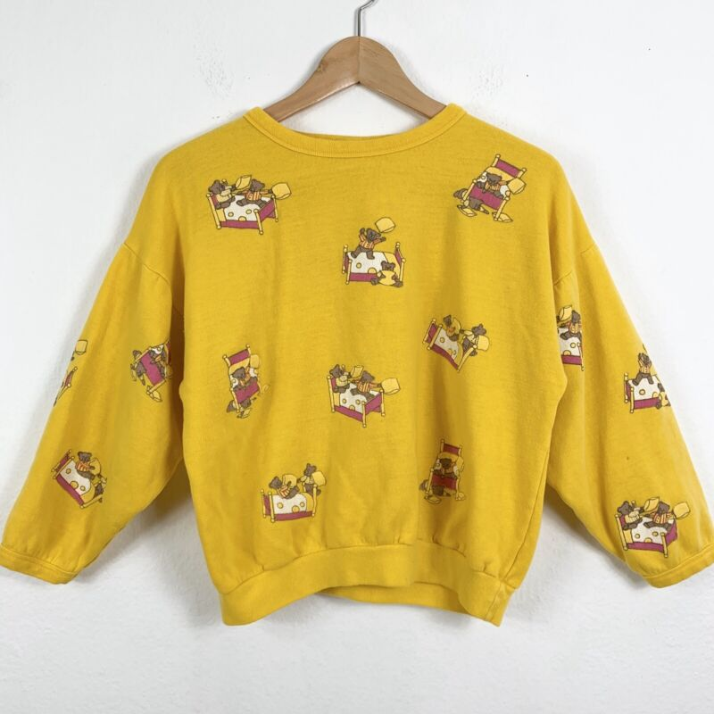 Vintage Spumoni Teddy Bear Sweatshirt Youth Kids Large Mustard Yellow Pink Crew