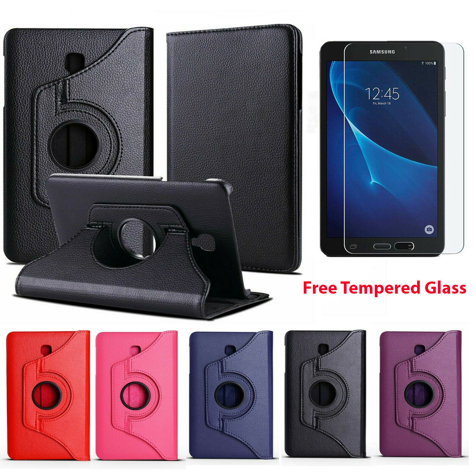 Leather Case Cover Samsung Galaxy Tab A 7 inch Tablet (SM-T280 / SM-T285)+ Glass Cases, Covers, Keyboard Folios