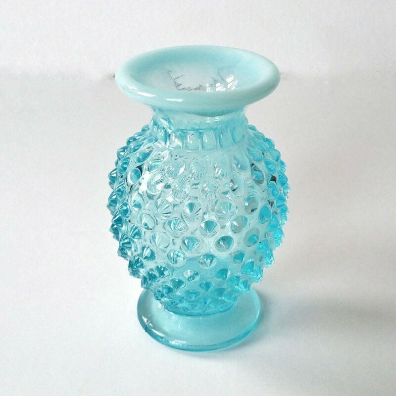 "Early Fenton Aqua Blue Glass ""Hobnail"" Vase American Art Deco C. 1939-48 Label"