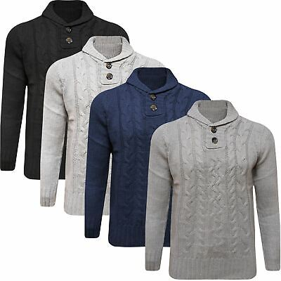 Mens Zara Knitted Jumper Shawl Button High Neck Sweater Pullover Cable Knit Top