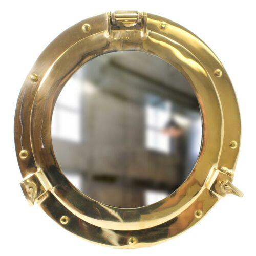 "11"" Brass Porthole Mirror ~ Nautical Maritime Wall Decor ~ Ship Cabin Window"
