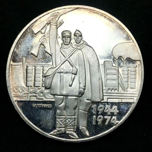 1974 SILVER BULGARIA 5 LEVA PROOF COIN LIBERATION FROM FASCISM 30th ANNIVERSARY.
