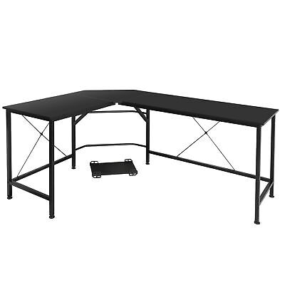 51 Modern L-shaped Computer Desk Large Workstation With Round Corner Pc Stand
