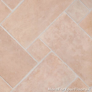 Thick vinyl flooring soft beige stone brick tile for Stone effect vinyl flooring