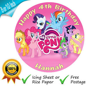 MY LITTLE PONY ROUND EDIBLE PRINTED BIRTHDAY CAKE TOPPER PERSONALISED ...