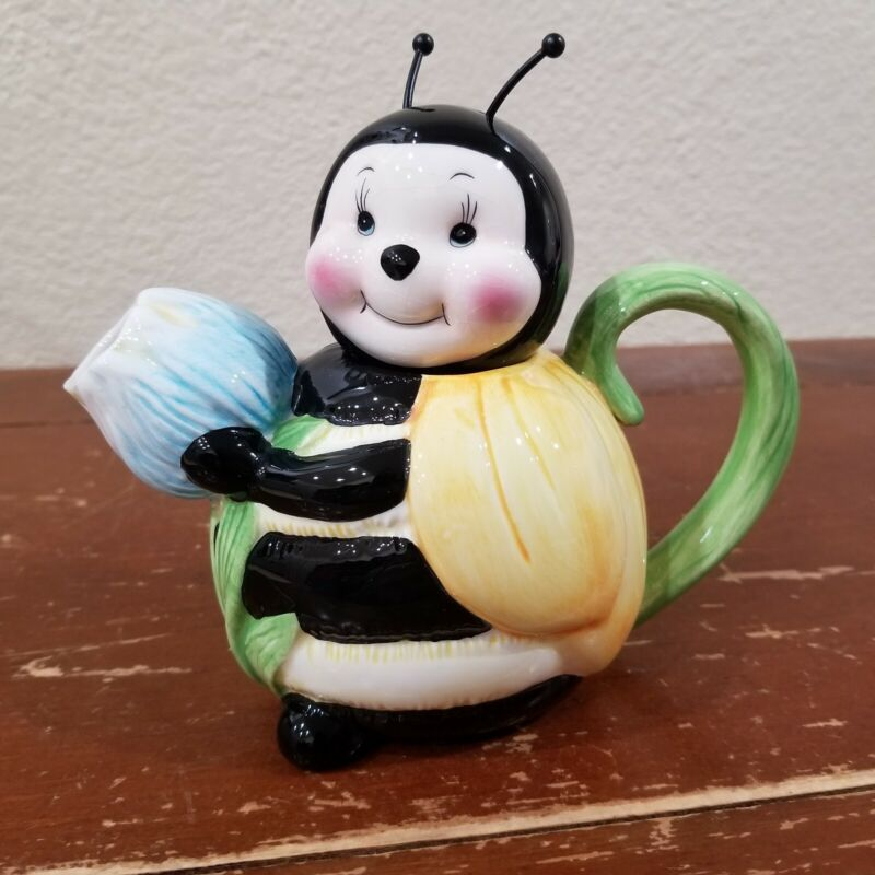 Colorful honey bee Teapot or flower pitcher