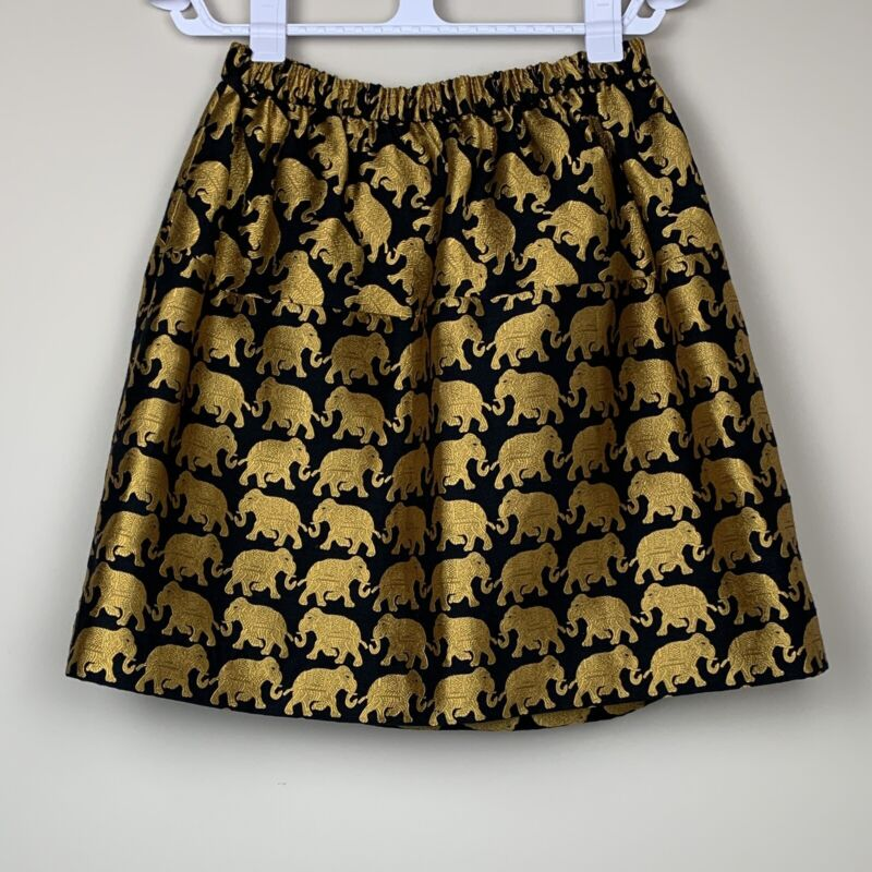 J Crew Crewcuts Elephant Print Skirt Gold and Black Girls Size 16