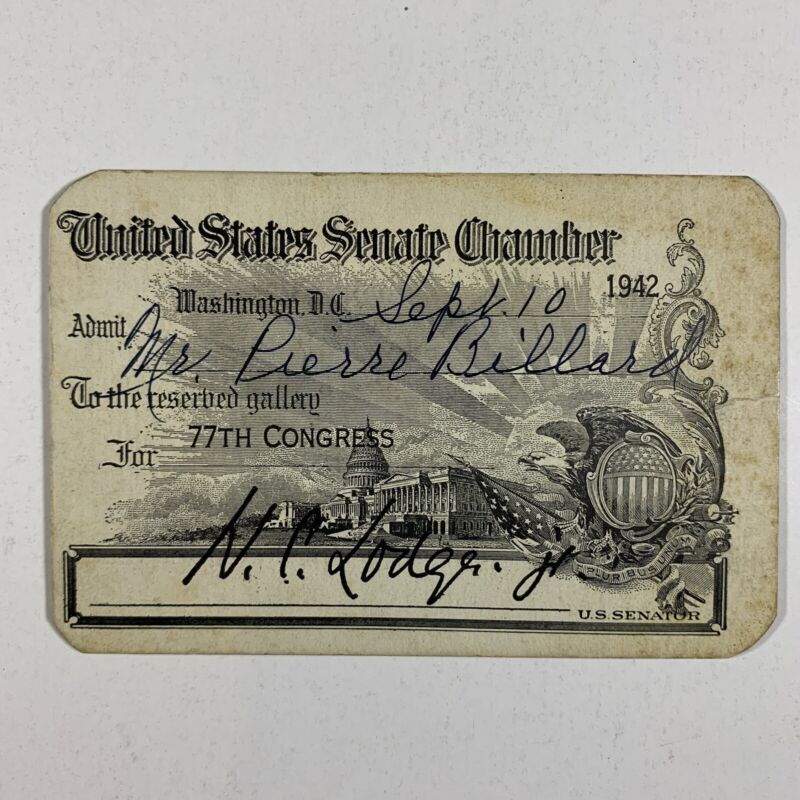 US Senate Chamber Pass 77th Congress Sept. 10 1942 Signed Henry Cabot Lodge WWII
