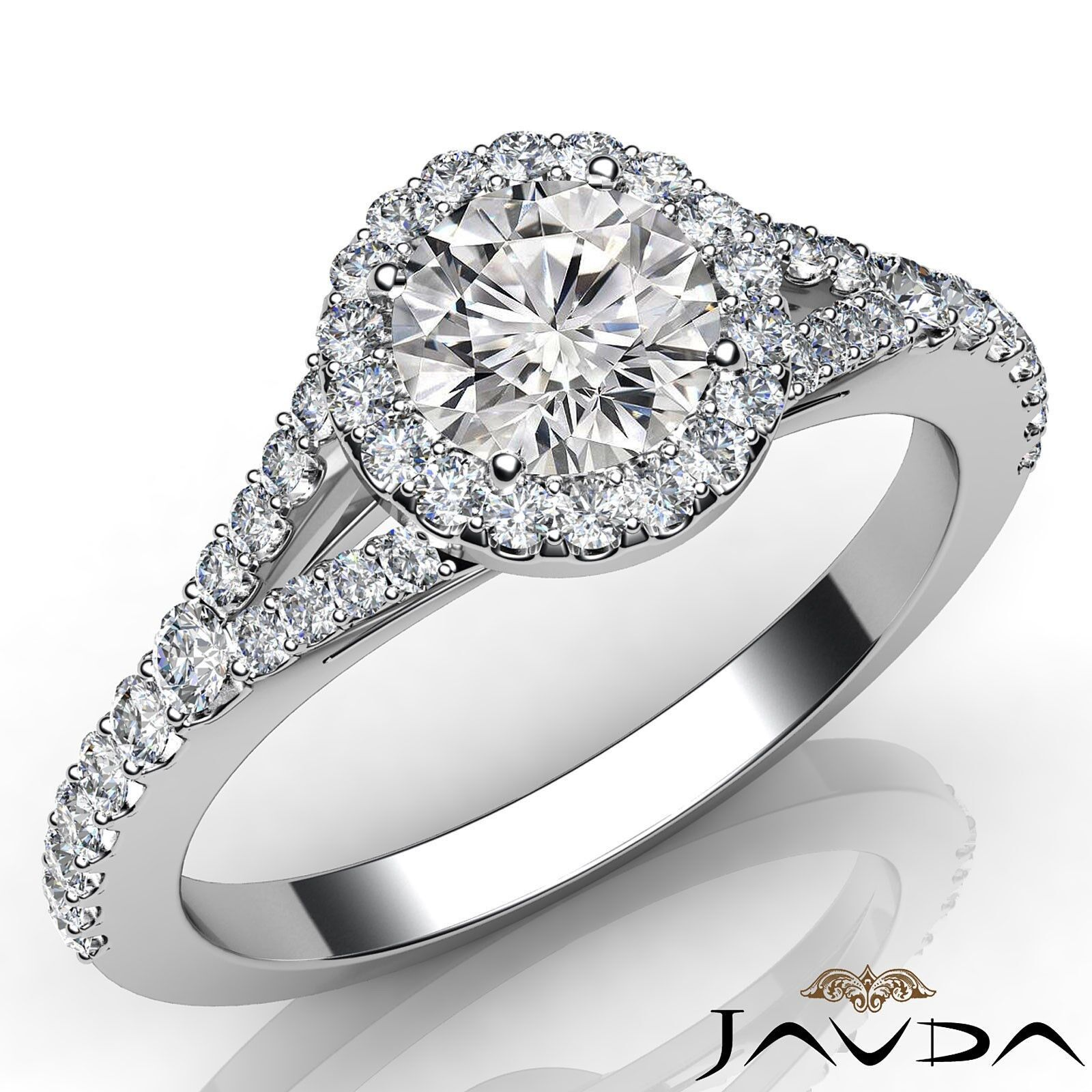 French U Pave Split Shank Halo Round Cut Diamond Engagement Ring GIA E VVS1 1 Ct