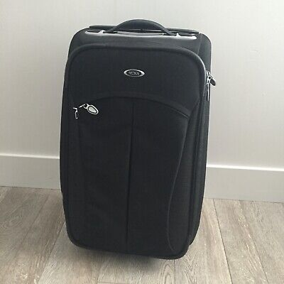 Tumi T3 Carry-On Suitcase Roller Bag Expandable Transporter Black Silver 22""