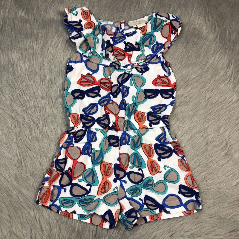 Kate Spade Toddler Girls Sz 4 White Blue Red Sunglass Romper
