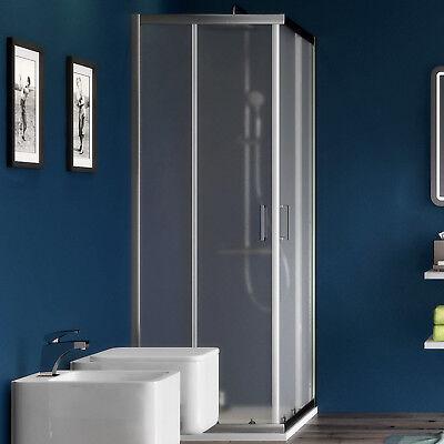 Box doccia angolare 70x70 in cristallo 6mm piumato con porte scorrevoli d'arredo