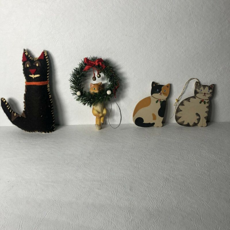 Vintage Cat Ornaments Lot Of 4 Ceramic Cute Kitty