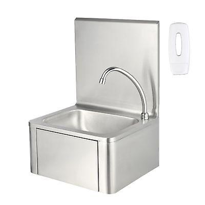 ZELSIUS Edelstahl Handwaschbecken mit Kniebetätigung Waschbecken Seifenspender