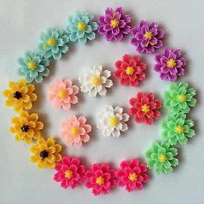 NEW DIY12pcs mix Resin flower flat back Scrapbooking For phone/craft