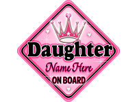 Personalised Baby On Board Car Sign Blue ~ Silver Brothers New MYCR