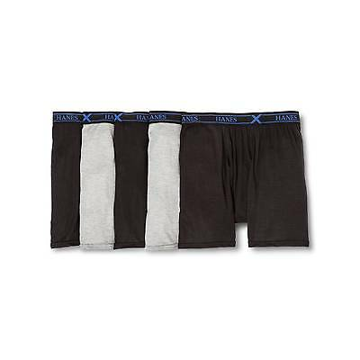 NEW Hanes Men's 5-Pack Xtemp Boxer Briefs - Black/Grey - Size: M