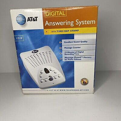 AT&T 1719 Digital Answering System With Time and Day Stamp - White