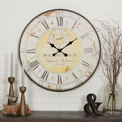 Large Wall Clock Big Vintage Rustic Antique Oversized Distressed Metal Frame 31