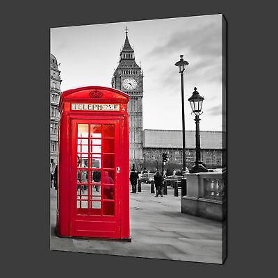 LONDON CANVAS WALL ART BIG BEN CLASSIC PHONE BOX RETRO MODERN PAINTING 60 X 40