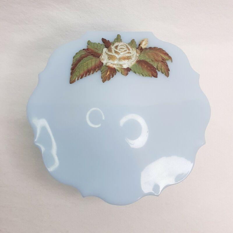 Vintage Schwarz Bros Plastic Vanity Dusting Powder Puff Box Blue w/ Flowers