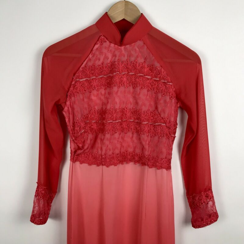 Vintage Reddish Pink Lace Ombre Cheongsam Size Small