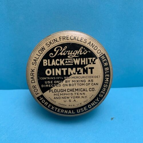 Vintage Plough's Black and White Ointment Tin - Nice Condition