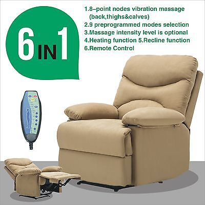 Massage Recliner Sofa Chair Microfiber Ergonomic Lounge Heated w/Control