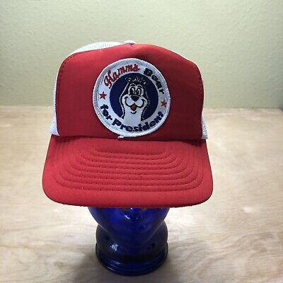 Vintage Hamms Beer Hat 80s Patch Snapback For President Red Trucker Mesh