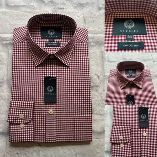 Viyella Shirt, 100% Cotton, Size 15.5, Red and White Gingham Check, BNWT