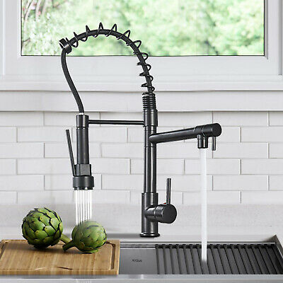 Matte Black Kitchen Faucet Single Handle Pull Down Sprayer sink Mixer Taps