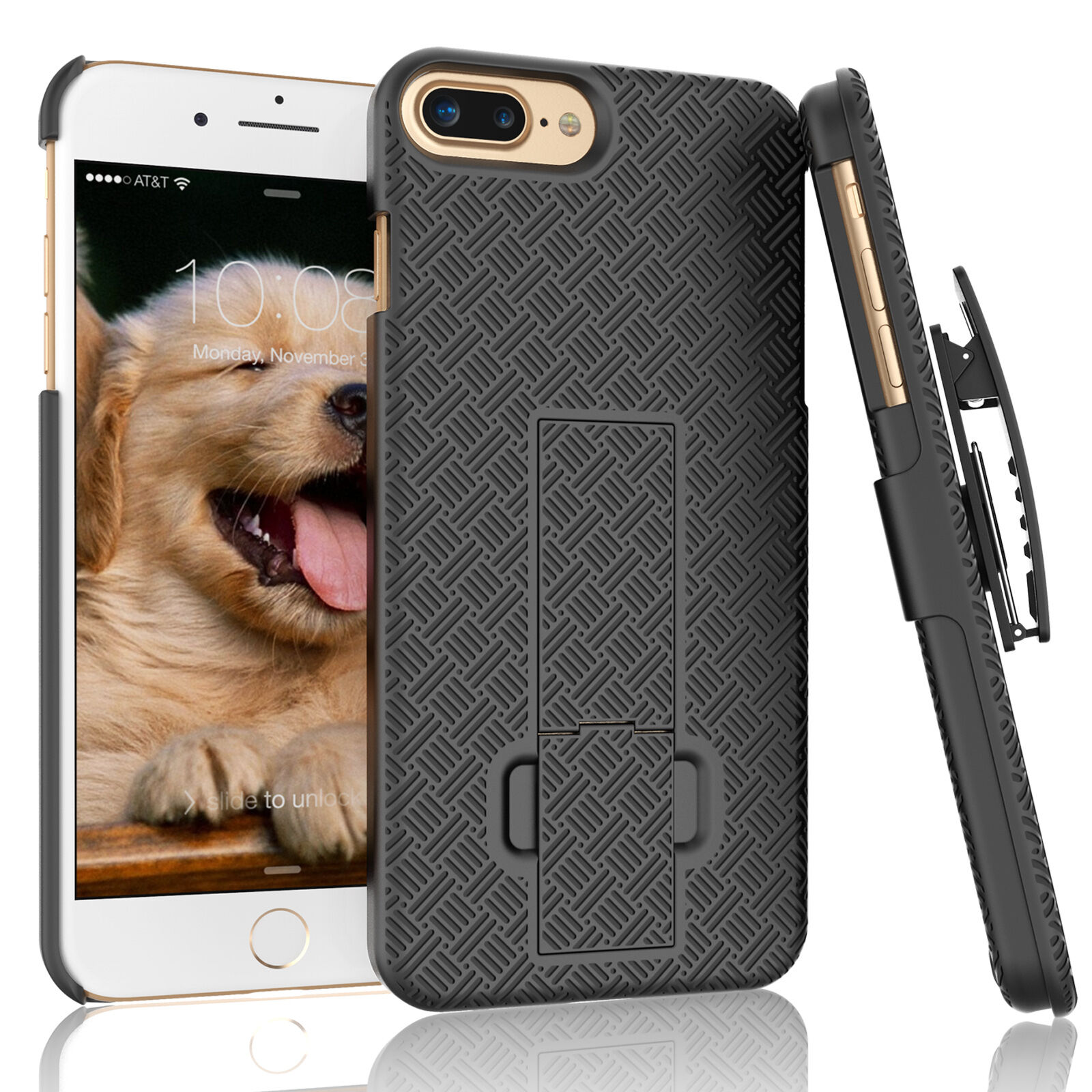 FOR IPHONE 7 / 7 PLUS SHELL HOLSTER BELT CLIP COMBO CASE COV
