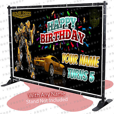 Transformers Birthday Banner (Transformers Bumblebee Birthday Banner Personalized Party Backdrop Prime)