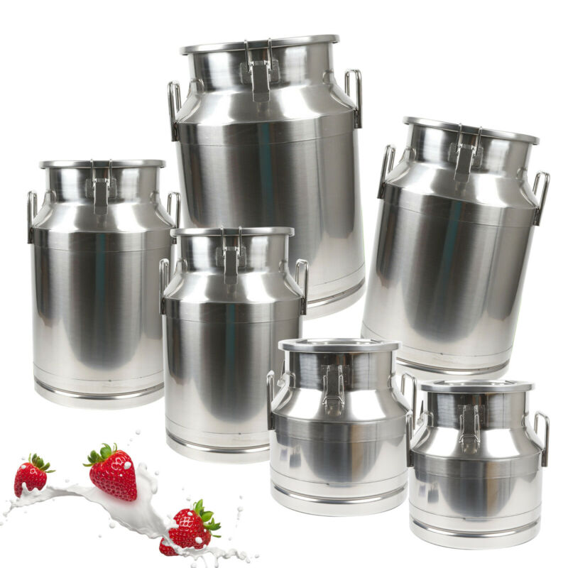 Heavy Duty Stainless Steel Milk Can Tote Jug - 12L-50L capacity with Sealed Lid