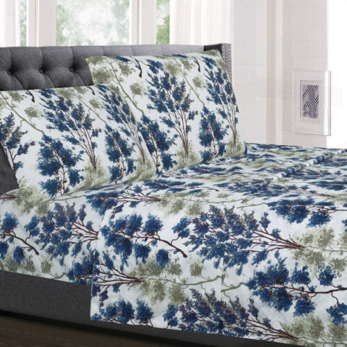 Florence Blue/Green Floral 4-Piece 1800 Thread Count Sheet Set Bedding