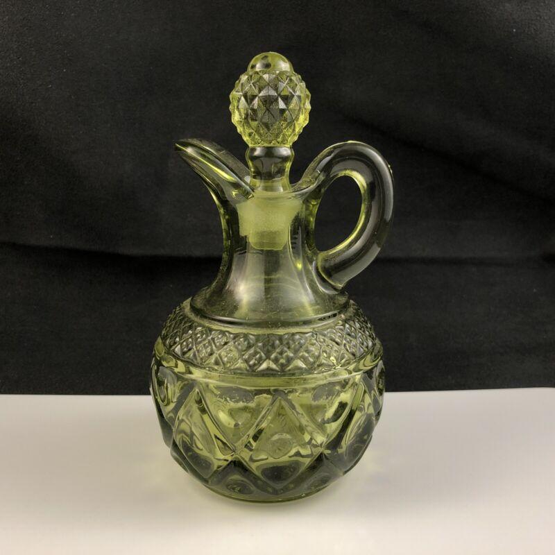 """🟩 Vintage Imperial Glass CAPE COD Pattern Verde Green 5 1/4"""" Cruet w/ Stopper"""