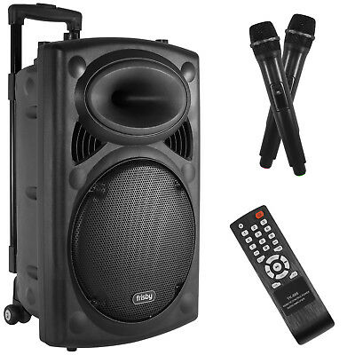 Bluetooth Karaoke Stereo Speaker System Portable W  Wheels   2 Microphones