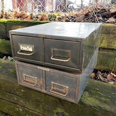 2 Vintage Cole Steelmaster Two Drawer Index Card Stackable Metal File Cabinet